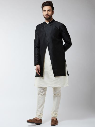 Sojanya (Since 1958), Men's Silk Blend Cream Kurta Churidaar Pyjama & Black Sherwani Jacket Set