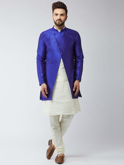 Sojanya (Since 1958), Men's Silk Blend Cream Kurta Churidaar Pyjama & Royal Blue Sherwani Jacket Set