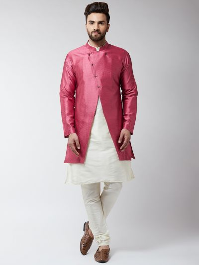 Sojanya (Since 1958), Men's Silk Blend Cream Kurta Churidaar Pyjama & Pink Sherwani Jacket Set