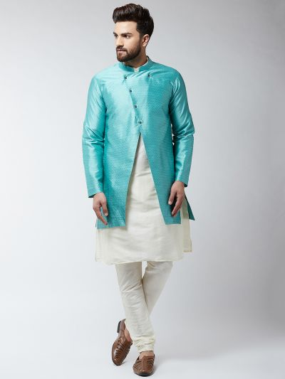 Sojanya (Since 1958), Men's Silk Blend Cream Kurta Churidaar Pyjama & Sky Blue Sherwani Jacket Set