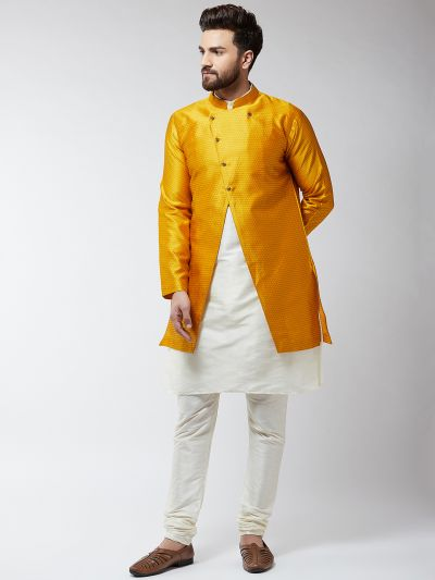 Sojanya (Since 1958), Men's Silk Blend Cream Kurta Churidaar Pyjama & Mustard Sherwani Jacket Set