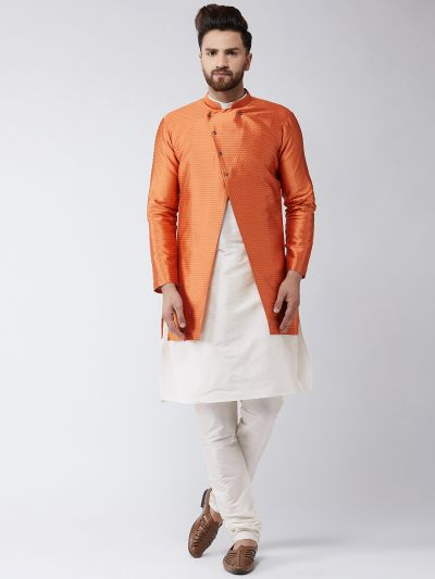 Sojanya (Since 1958), Men's Silk Blend Cream Kurta Churidaar Pyjama & Peach Sherwani Jacket Set