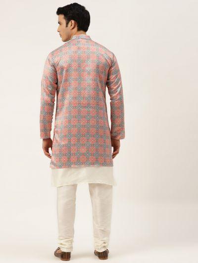Sojanya (Since 1958), Men's Silk Blend Off White Kurta Pyjama & Black Sherwani Set