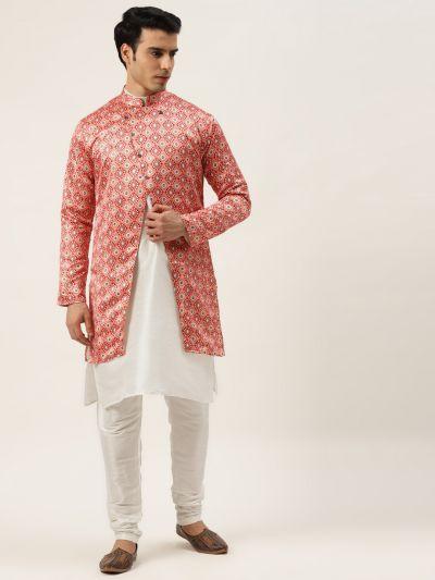 Sojanya (Since 1958), Men's Silk Blend Off White Kurta Pyjama & Peach Sherwani Set