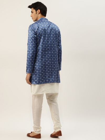 Sojanya (Since 1958), Men's Silk Blend Off White Kurta Pyjama & Blue Sherwani Set