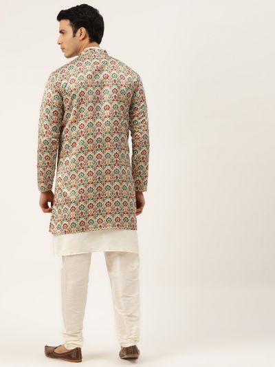 Sojanya (Since 1958), Men's Silk Blend Off White Kurta Pyjama & Fawn Sherwani Set