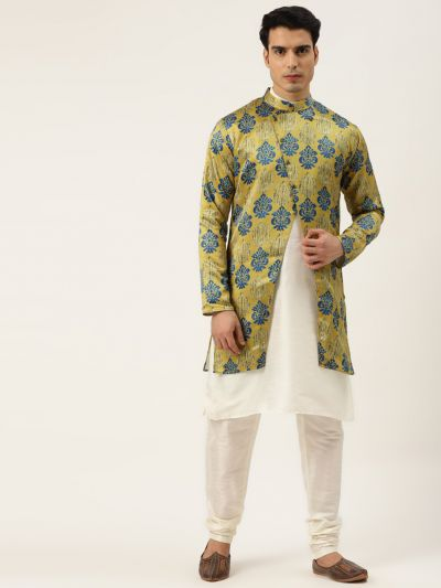 Sojanya (Since 1958), Men's Silk Blend Off White Kurta Pyjama & Gold Sherwani Set