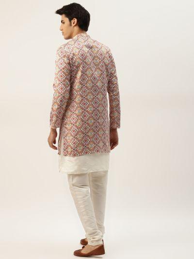 Sojanya (Since 1958), Men's Silk Blend Off White Kurta Pyjama & OffWhite Sherwani Set