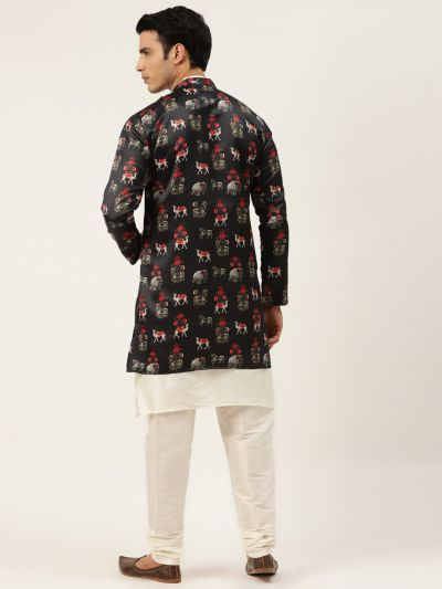 Sojanya (Since 1958), Men's Silk Blend Off White Kurta Pyjama & Rust Sherwani Set