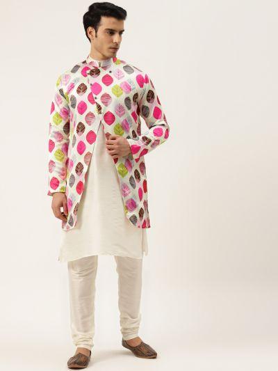 Sojanya (Since 1958), Men's Silk Blend Off White Kurta Pyjama & Light Green Sherwani Set