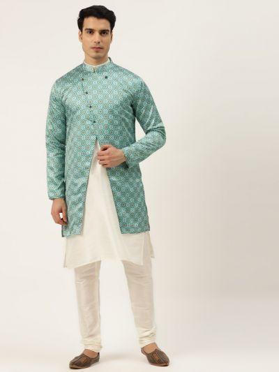 Sojanya (Since 1958), Men's Silk Blend Off White Kurta Pyjama & Green Sherwani Set