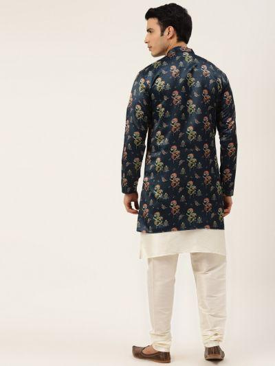 Sojanya (Since 1958), Men's Silk Blend Off White Kurta Pyjama & Navy Sherwani Set