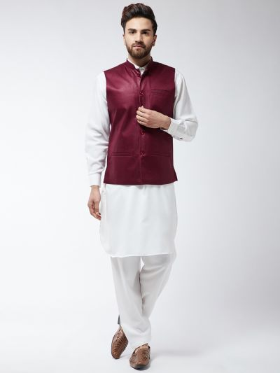 Sojanya (Since 1958) Men's Cotton Blend Cream Pathani Kurta Salwar & Maroon Nehrujacket Set