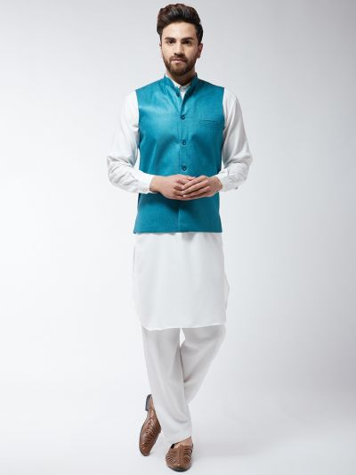 Sojanya (Since 1958) Men's Cotton Blend Cream Pathani Kurta Salwar & Peacock Blue Nehrujacket Set