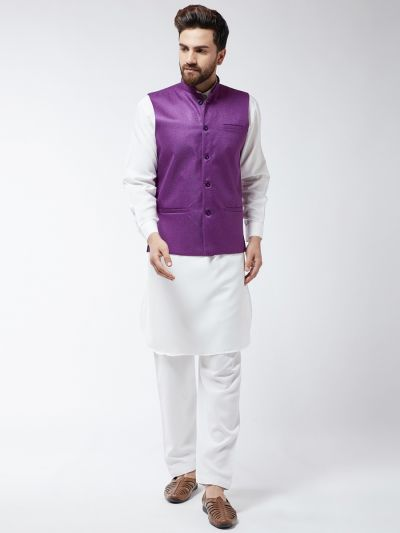 Sojanya (Since 1958) Men's Cotton Blend Pathani Kurta Salwar & Purple Nehrujacket Set