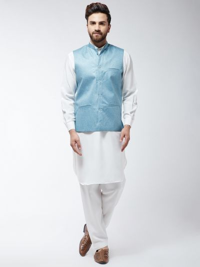 Sojanya (Since 1958) Men's Cotton Blend Cream Pathani Kurta Salwar & Sky Blue Nehrujacket Set