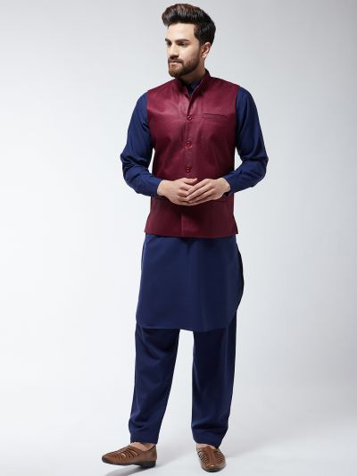 Sojanya (Since 1958) Men's Cotton Blend Navy Blue Pathani Kurta Salwar & Maroon Nehrujacket Set