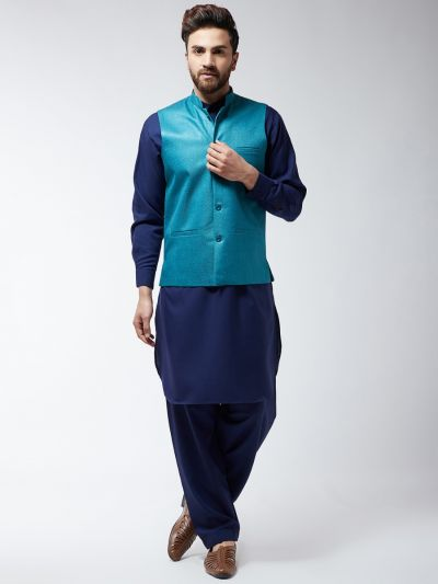 Sojanya (Since 1958) Men's Cotton Blend Blue Pathani Kurta Salwar & Peacock Nehrujacket Set