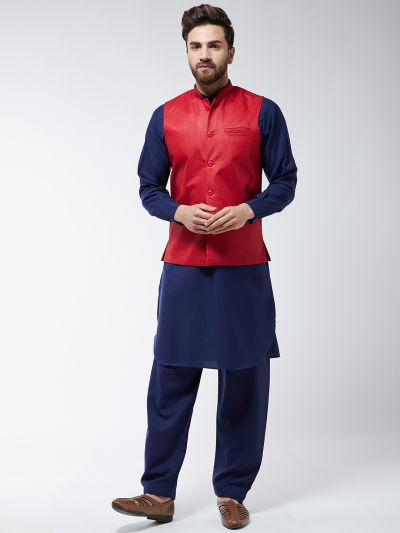 Sojanya (Since 1958) Men's Cotton Blend Navy Blue Pathani Kurta Salwar & Red Nehrujacket Set