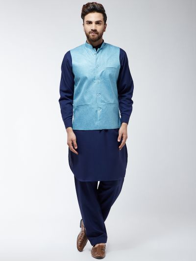 Sojanya (Since 1958) Men's Cotton Blend Navy Blue Pathani Kurta Salwar & Sky Blue Nehrujacket Set
