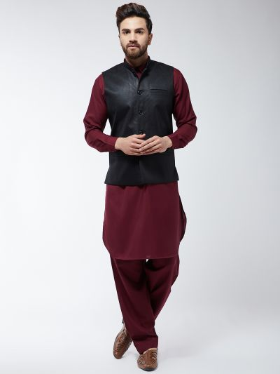 Sojanya (Since 1958) Men's Cotton Blend Maroon Pathani Kurta Salwar & Black Nehrujacket Set