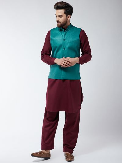Sojanya (Since 1958) Men's Cotton Blend Maroon Pathani Kurta Salwar & Peacock Blue Nehrujacket Set