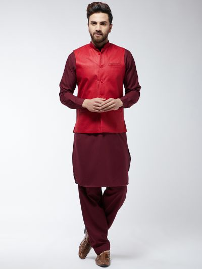 Sojanya (Since 1958) Men's Cotton Blend Maroon Pathani Kurta Salwar & Red Nehrujacket Set