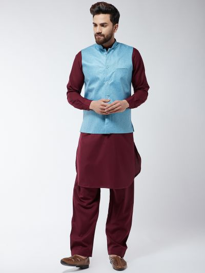 Sojanya (Since 1958) Men's Cotton Blend Maroon Pathani Kurta Salwar & Sky Blue Nehrujacket Set
