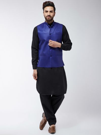 Sojanya (Since 1958) Men's Cotton Blend Black Pathani Kurta Salwar & Royal Blue Nehrujacket Set