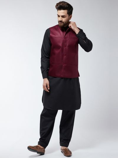 Sojanya (Since 1958) Men's Cotton Blend Black Pathani Kurta Salwar & Maroon Nehrujacket Set