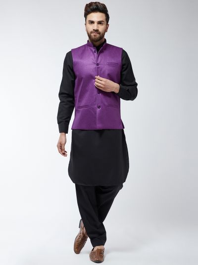 Sojanya (Since 1958) Men's Cotton Blend Black Pathani Kurta Salwar & Purple Nehrujacket Set
