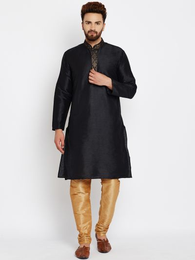 Sojanya (Since 1958), Black, Dupion Silk Kurta Churidaar Set