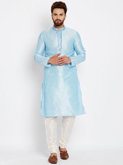 Sojanya (Since 1958), Aqua Blue, Dupion Silk Kurta Churidaar Set
