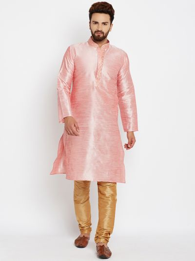 Sojanya (Since 1958), Pink, Dupion Silk Kurta Churidaar Set