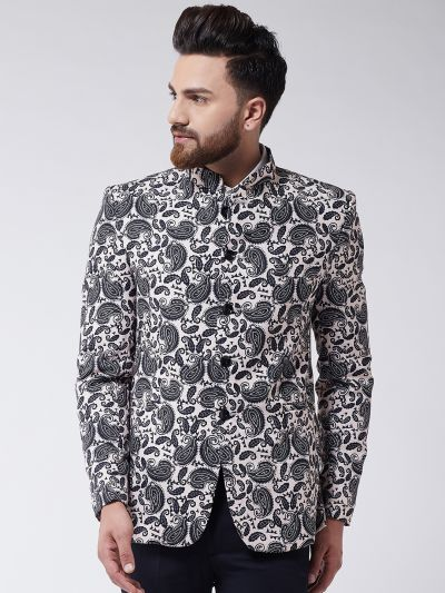 Sojanya (Since 1958) Men's Black Printed Blazer