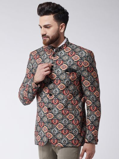 Sojanya (Since 1958) Men's Multicolor Printed Blazer