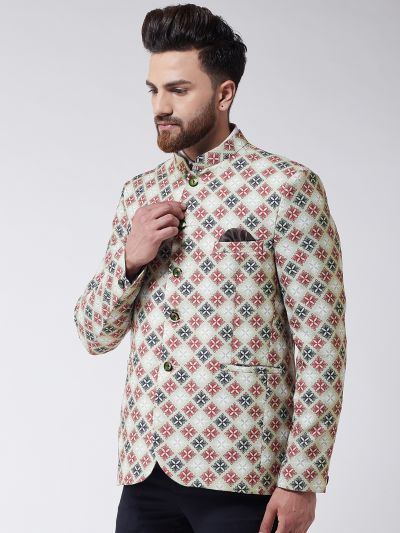 Sojanya (Since 1958) Men's Lime Green Printed Blazer