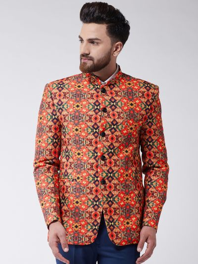 Sojanya (Since 1958) Men's Orange Geometric Printed Blazer