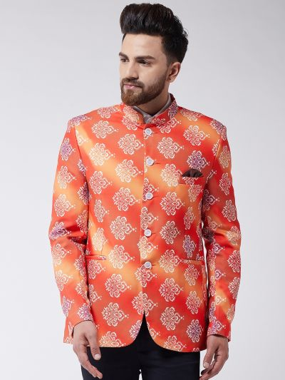 Sojanya (Since 1958) Men's Orange Printed Blazer blazer