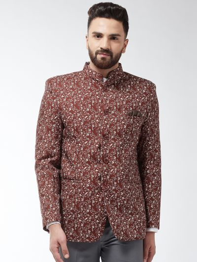 Sojanya (Since 1958) Men's Cotton Blend Rust & Beige Printed Blazer