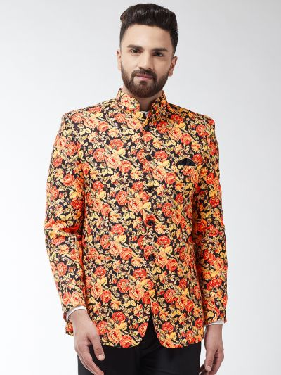 Sojanya (Since 1958) Men's Cotton Blend Orange & Multi Floral Printed Blazer