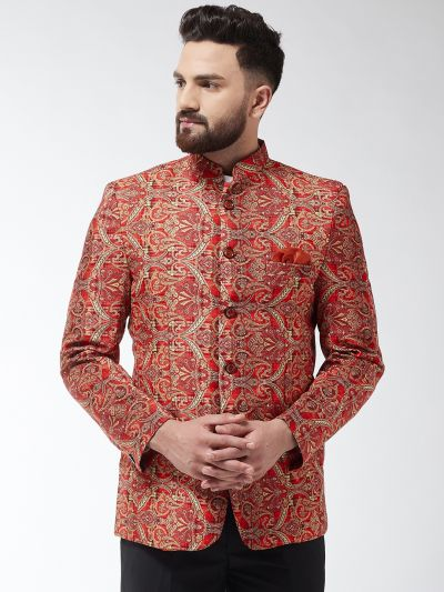 Sojanya (Since 1958) Men's Cotton Blend Red & Green Printed Blazer