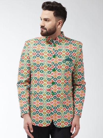 Sojanya (Since 1958) Men's Cotton Blend Green & Multi Printed Blazer