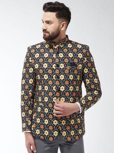 Sojanya (Since 1958) Men's Cotton Blend Black & Multi Printed Blazer