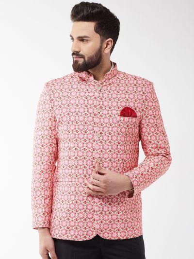 Sojanya (Since 1958) Men's Cotton Blend Peach & Pink Printed Blazer