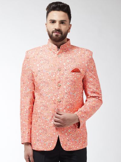 Sojanya (Since 1958) Men's Cotton Blend Dark Peach & Yellow Printed Blazer