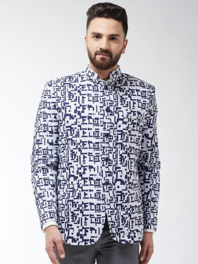 Sojanya (Since 1958) Men's Cotton Blend Navy Blue & Off White Abstract Printed Blazer
