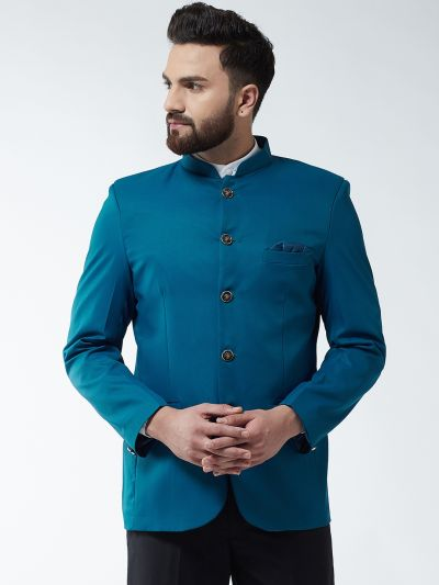 Sojanya (Since 1958) Men's Cotton Blend Teal Blue Solid Blazer