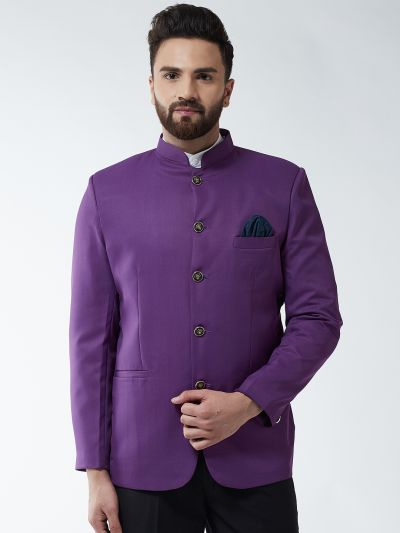 Sojanya (Since 1958) Men's Cotton Blend Purple Solid Blazer