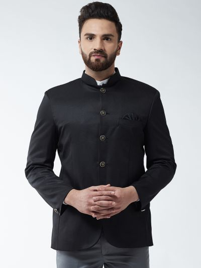 Sojanya (Since 1958) Men's Cotton Blend Black Solid Blazer